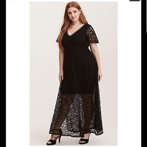 Torrid black lace maxi dress plus size